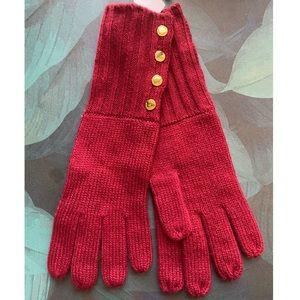 Michael Kors Red Gold Long Knit Gloves